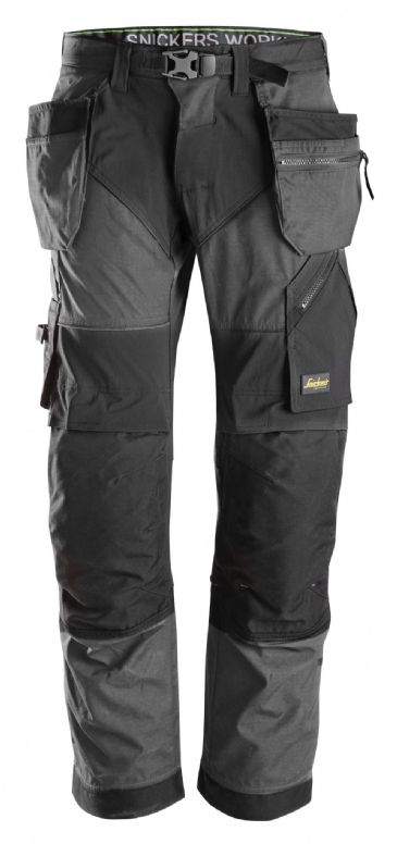 Snickers FlexiWork 6902 Work Trousers with Holster Pockets (Steel Grey/Black)